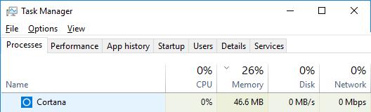 cortana task manager disable